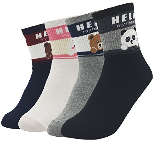 JJMax Women's Sweet Animal Cotton Blend Socks Set One Size Fits All (Hello My Name Is) by JJMax