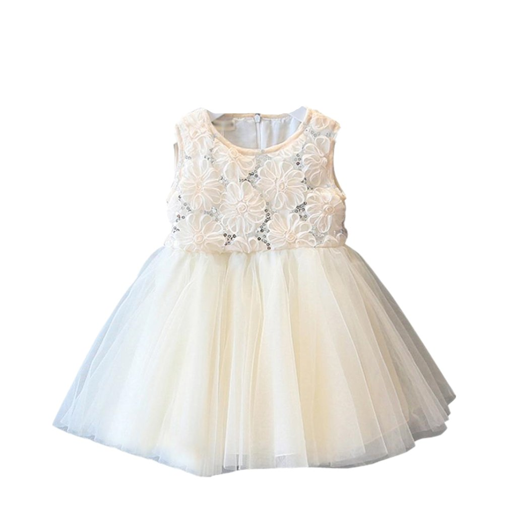 71271de526cf Amazon.com  Feitong Kid Girls Princess Rose Sequined Lace Tutu Princess  Sweet Dress Sleeveless Voile Dress  Baby