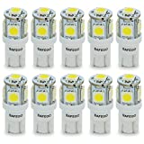 Safego T10 LED White W5W 5-SMD 5050 Super Bright 194 168 2825 Wedge LED Car Lights Source Replacement Bulbs Interior Lamps T10-5SMD-5050-W Pack of 10