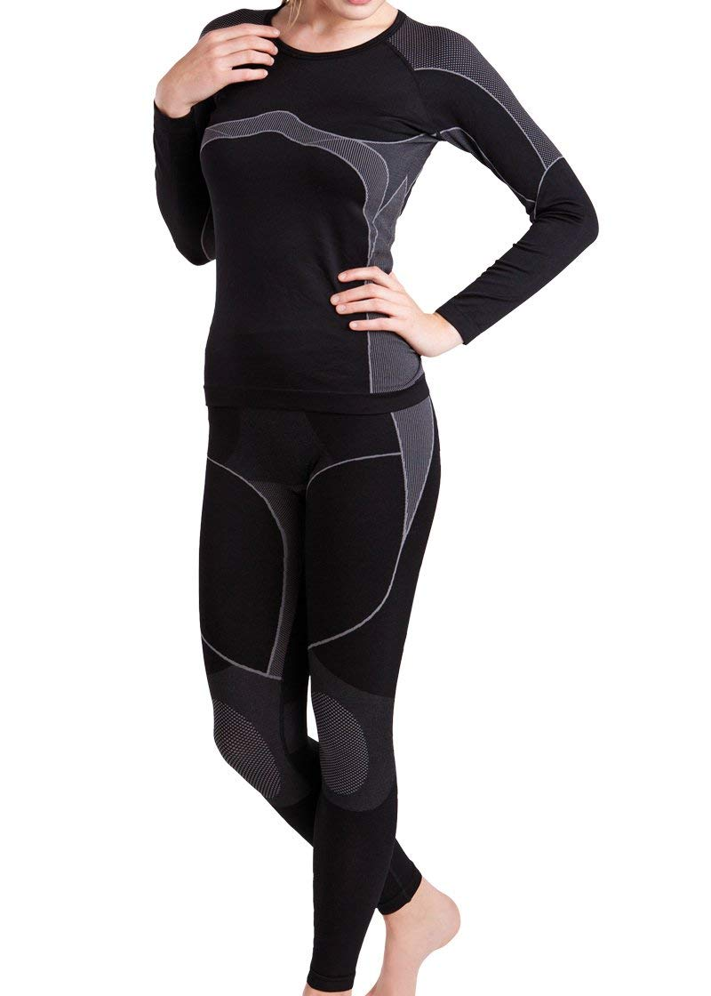 Gomati - Set de ropa térmica deportiva y para esquí para mujer - Gris - L