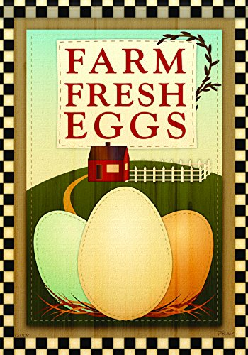 Carson Home Accents FlagTrends Classic Large Flag, Farm Fresh Eggs
