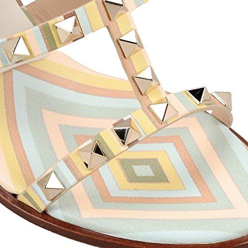 AIWEIYi High Schuhe Gladiator Plattform Kleid Damen Heels spitze Nieten Multi Knöchelriemen Sandalen Offene rrwXP