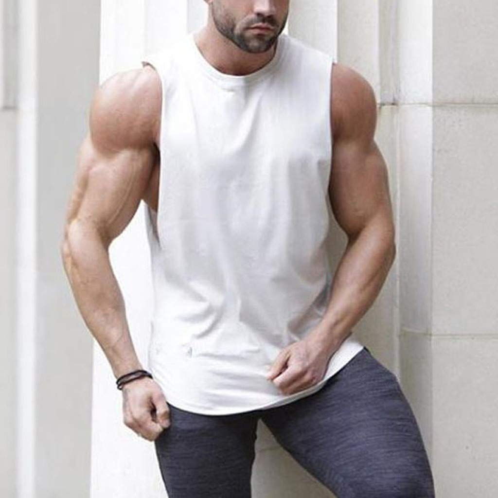 Pervobs Men Solid Slim Fit Active Sports Tops Vest Summer Short Sleeve Crew Neck T-Shirt Tee Top Blouse Vest Tank(2XL, White) by Pervobs Mens T-Shirts (Image #2)