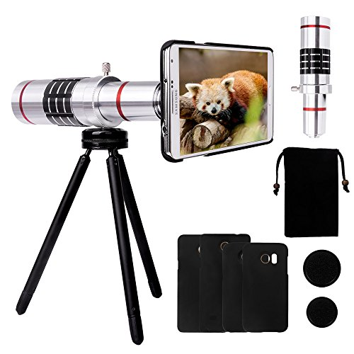 Luxsure Camera Lens Kit with 18x Aluminum Telephoto Lens + Mini Tripod + Hard Case + Velvet Bag + Cleaning Cloth for Samsung Galaxy S7/S6/Note 5/Note 4