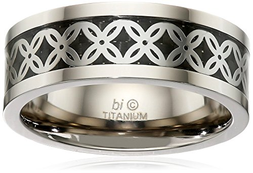 Men's Titanium Carbon Fiber and Clover Pattern Inlay Ring, S...