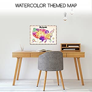 Scratch Off Map of The United States in Vibrant Watercolor - Track Your Travel with Easy Off Gold Foil - All Us States and Territories Outlined - 16 X 24 Poster in Gift Package