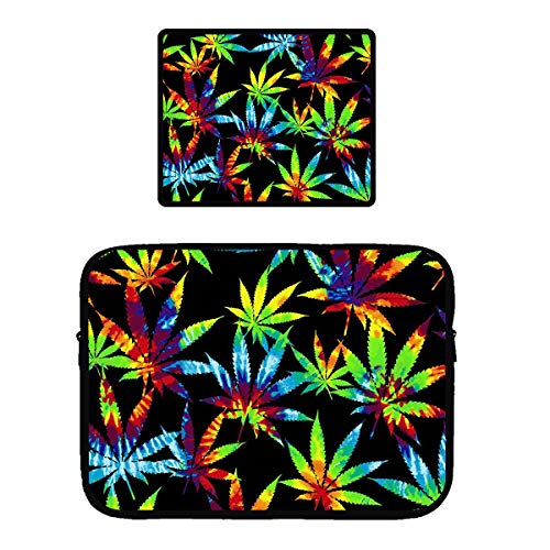 Luggage Porter Case Pc - Water Repellent Tablet Sleeve Compatible for 13/15 inch Ultrabook/Chromebook Protective Netbook Case Bag Cover + Anti-Slip Rubber Base Mousepad (Tie Dye Weed Leaves)