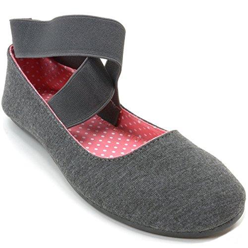 Alpestre Suizo Peony Mujeres Ballet Flats Zapatos Elásticos De La Correa De Tobillo Slip On Loafers Grey