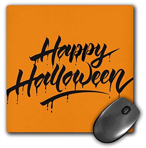 3dRose Sven Herkenrath Celebration - Scary Happy Halloween Quotes with Orange Background - Mousepad -