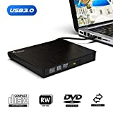 External CD DVD Drive, Fryzoo USB 3.0 CD/DVD +/-RW Drive Ultra Slim DVD CD ROM Burner Rewriter Driver Super High Speed Data Transfer for Desktop Linux Mac and Laptop