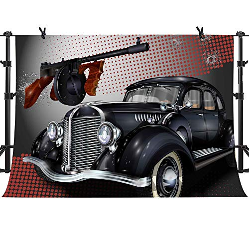 Black Vintage Car Submachine Gun Background MME 10x7ft New York Gangster Theme Party Background Photo Booth Studio Props LSME546 ()