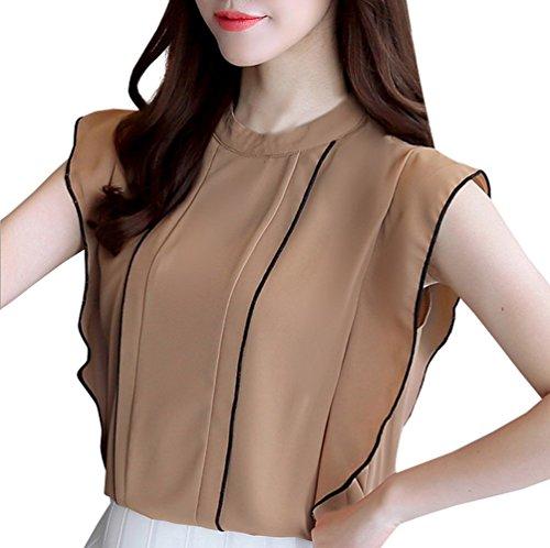 Lato Loto Moda Shirt Estivo Sottile Cachi Foglia Bluse Camicie Casual Canotte Tops T Maglietta Senza Maniche Donna di Chiffon rPqOqf84X7