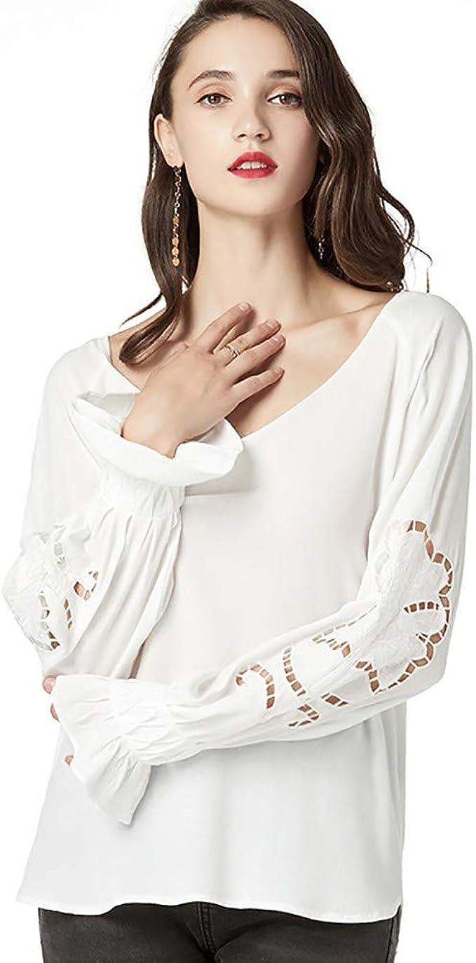 ZODOF Cuello Redondo Manga Larga Camiseta Mujer Top, Mujer Camisas Mujer Verano Elegantes Casual Mujer Tops: Amazon.es: Ropa y accesorios