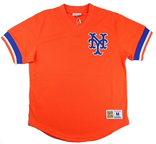 New York Mets Mitchell & Ness Men's Mesh V-Neck Jersey Orange (Medium) ()