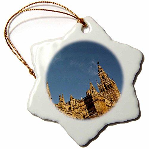 3dRose orn_139558_1 Spain, Seville, Cathedral, Giralda Tower, Sunrise-Eu27 Wbi1034-Walter Bibikow-Snowflake Ornament, 3-Inch, Porcelain by 3dRose