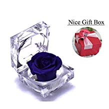 Handmade Preserved Fresh Flower Rose with Acrylic Crystal Box - Romantic Small Gift Ideas for Valentine's Day, Anniversary, Birthday (Violet)