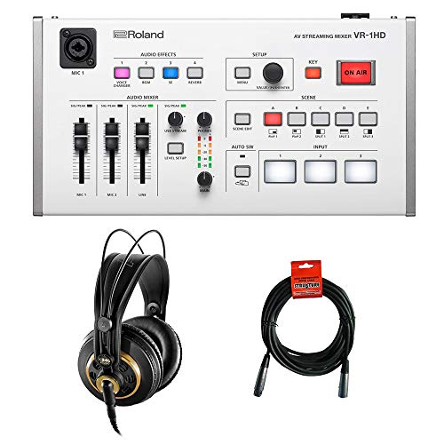 Roland VR-1HD AV Streaming Mixer with AKG K 240 Studio Pro Headphones & XLR-XLR Cable Bundle