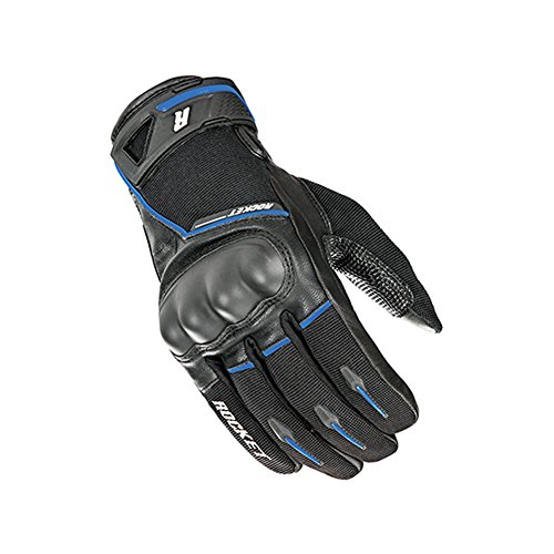 Joe Rocket Supermoto Mens On-Road Motorcycle Leather Gloves - Black/Blue/X-Large