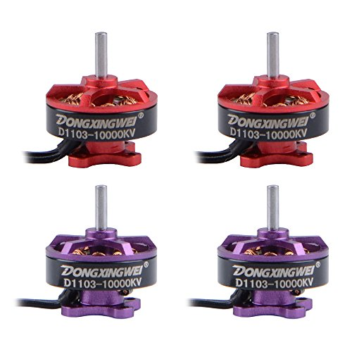Coolmade 4X 10000KV BR1103 Racing Edition Brushless Motor 1103 with ESC 1-2S/3.7-7.4V Li-po Battery Supply 6A BB2 Blheli DIY for 50 80 100 RC Multirotor Quadcopter (2Red + 2Purple)
