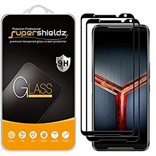 (2 Pack) Supershieldz for Asus ROG Phone 2 / ROG Phone II (ZS660KL) Tempered Glass Screen Protector, (Full Screen Coverage) Anti Scratch, Bubble Free (Black)