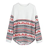 FUNIC Women's Pullover, Merry Christmas Women Long Sleeve Loose Tops Blouse T-Shirt Hoodies (L/XL, White)
