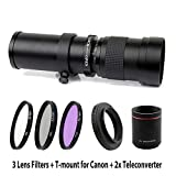 Lightdow 420-1600mm F/8.3-16 Super Telephoto Manual Zoom Lens + 67mm UV/CPL/FLD Filter Kit for Canon EOS Rebel T7, T7i, T6, T6i, T5, T5i, SL2, 80D, 77D, 700D, 70D, 60D, 50D, 5D, 6D, 7D, 600D, 550D etc