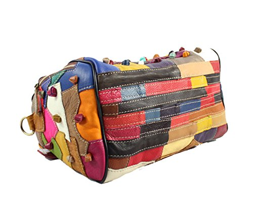 Zongsi Damen Mehrfarbig Rind Leder Umhängetasche Handtaschen Bunt Echts Leder Schultertasche Totes