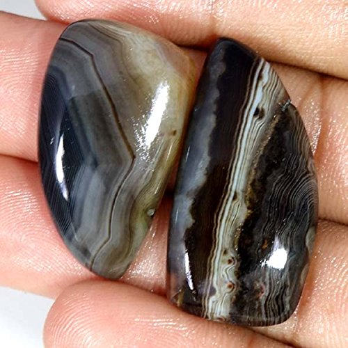 cts. Black Banded Agate Rough 2 Pec Lot Loose Gemstone (Black Banded Agate Gemstone)
