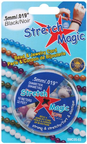 Pepperell Stretch 0.5mm Magic Bead and Jewelry Cord, 10m, Black