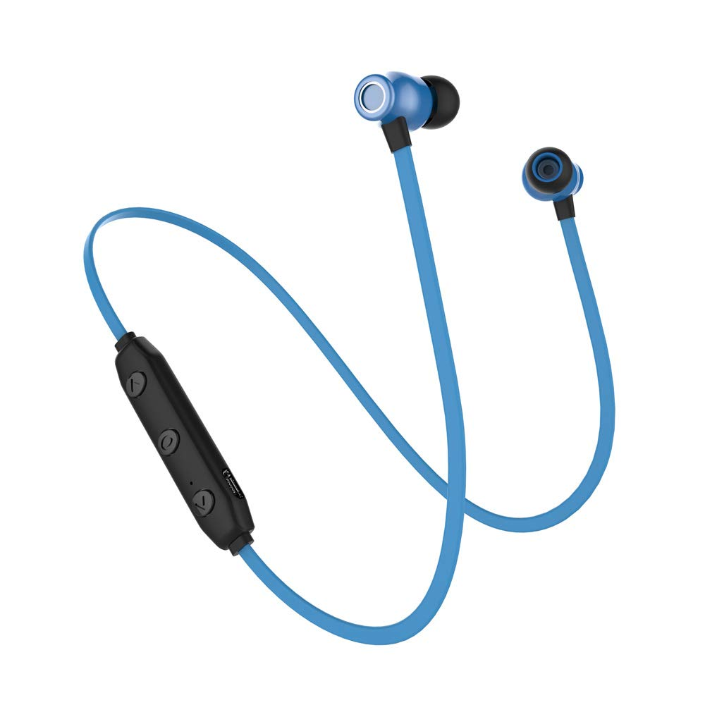 VOANZO Headphones Bluetooth V5.0 Noise Cancelling Bass Earbuds with Mic in-Ear Headphones Sweatproof Earphones for Sports Headsets Portable Earplugs 6 Hours Play Times - Blue