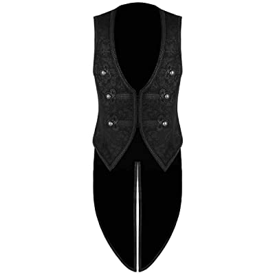 Prime Quality Men's Black Vest Waistcoat Tailcoat Black Brocade Damask Gothic Steampunk Victorian/Tail Coat at Amazon Men's Clothing store