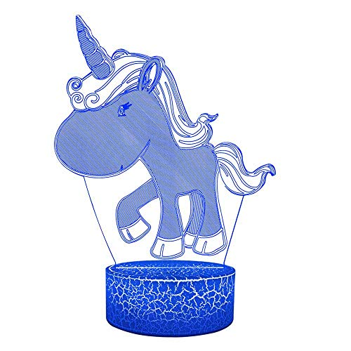 Kawaii Cartoon Unicorn Party Toy USB 3D Illusion Lamp Multicolor RGB Fade Home Bedroom Table Bedside Decorative Kid Girl Birthday Gift Idea Acrylic Plate Touch Switch (Support AA Battery)]()