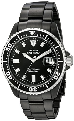 DETOMASO Men's DT1025-E SAN REMO Automatic Divers Watch Classic schwarz/schwarz Analog Display Japanese Automatic Black Watch