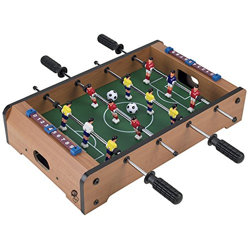 Tabletop Foosball Table- Portable Mini Table Football / Soccer Game Set with Two Balls and Score Keeper for Adults and Kids by Hey! Play! ()