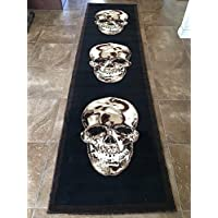 Skull Long Runner Area Rug Brown & Black Design 134 (32 Inch X15 Feet 10 Inch )