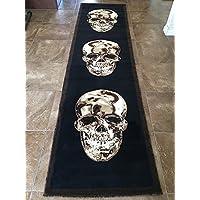Skull Long Runner Area Rug Brown & Black Design 134 (32 Inch X15 Feet 10 Inch )