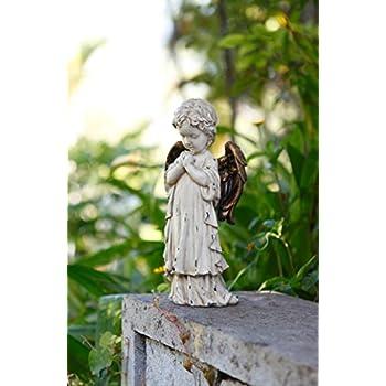 """Napco 11260 Praying Cherub with Bronze Wings Garden Statue, 12"""""""