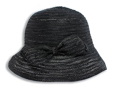 August Hats Women's Metallic Braid Medium Brim Fedora One Size Black