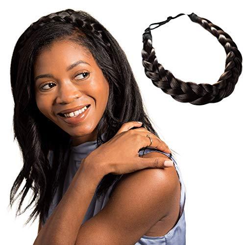 Auburn Madison Braids Womens Braided Headband Hair Braid Natural Looking Synthetic Hair Piece Extension Lulu Two Strand