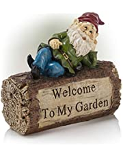 Alpine Corporation WAC200 Gnome and Welcome Sign Statue Outdoor Garden, Patio, Deck, Porch-Yard Art Decoration, 9-Inch Tall, Multicolor