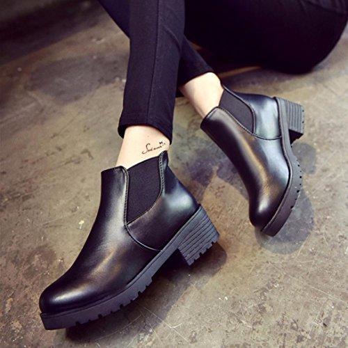 basso Tacchi tondo martin scarpe alti stivali testa nero donne stivali tallone Longra tacco medio Nero BIOxw8n