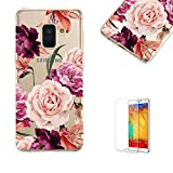 Funyye Crystal Transparent Case for Samsung Galaxy A6 2018 [Free Screen Protector],Stylish Colorful Flower Pattern for Cute Girls Soft Silicone Flexible Gel TPU Ultra Thin Case for Samsung A6 2018