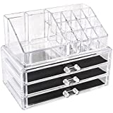 Sooyee Acrylic 4 Tier 3 Drawers and 16 Grid Stackable Cosmetics Makeup Storage Cube Organizer and Jewelry Storage Display Box Countertop,Clear 2 Pieces Set(9.44X5.35X7.24 Inches)