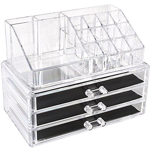 - Sooyee Acrylic 4 Tier 3 Drawers and 16 Grid Stackable Cosmetics Makeup Storage Cube Organizer and Jewelry Storage Display Box Countertop,Clear 2 Pieces Set(9.44X5.35X7.24 Inches)