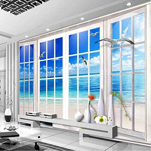 Clhhsy 剥離可能な3D壁画カスタム3D写真壁紙ビーチ3D立体窓風景リビングルームソファテレビ背景壁壁画家の装飾壁紙-250X175Cm