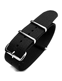 G10 NATO 23mm Watch Band, Heat Sealed Nylon, Polished Buckle, Color Black
