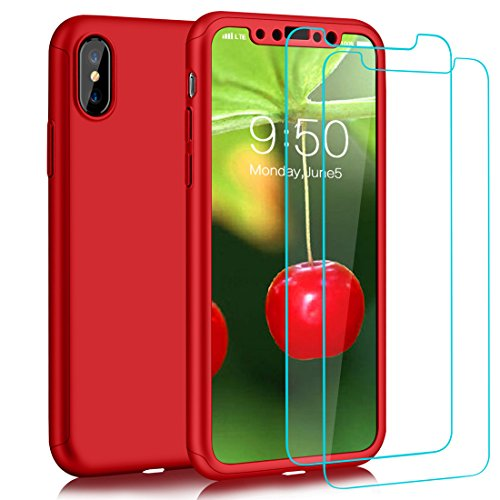 Red Cover 2 T-shirt (COOLQO iPhone X Case, 360 Full Body Coverage Protection 2in1 Ultra-Thin PC Hard Slim Protective Cover With [2 Pack Tempered Glass Screen Protector] For Apple iPhone X/10 5.8 Inch (Red))