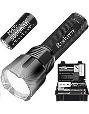REHKITTZ Led Torch Super Heldere Krachtige Lumen Zaklampen Led Inclusief 5000mAh Batterij Camping Torch Zoomable Zaklamp Compatibel met verschillende Batterijen Aluminium Tactische Torch