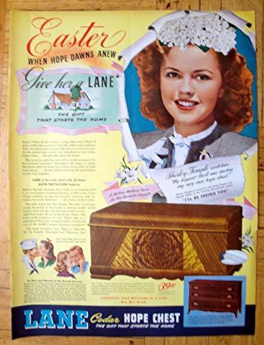 1945 Lane Cedar Hope Chest-Shirley Temple $39.50-Original 13.5 * 10.5 Magazine Ad