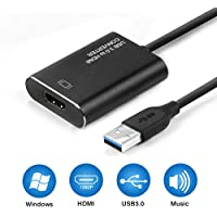 USB to HDMI Adapter, USB 3.0 to HDMI Adapter 1080P, RayCue Video Audio Multi Monitor Adaptor Converter for Laptop HDTV TV Windows 7/8/10 PC Only ( Not Support Mac)